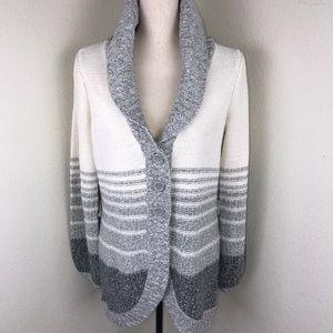 St.Johns Bay Gray/Cream Long Cardigan Size L